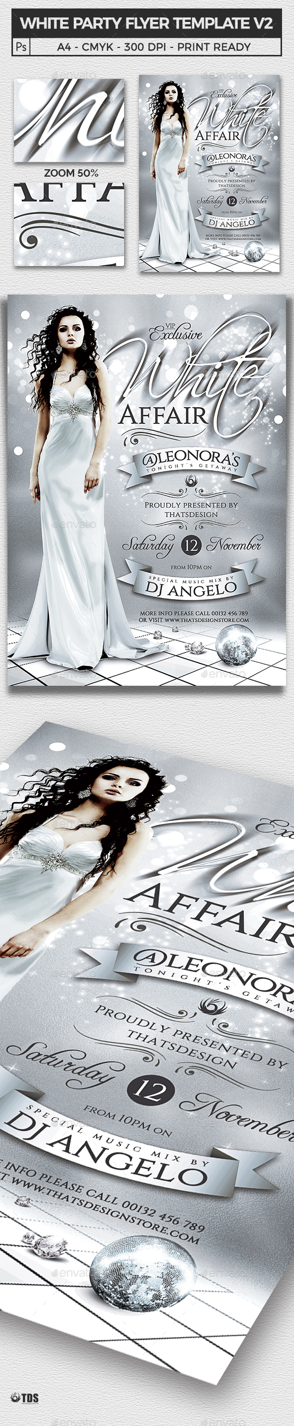 White Party Flyer Template V2 - Clubs & Parties Events