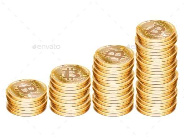 Golden Bitcoin Coins - Concepts Business