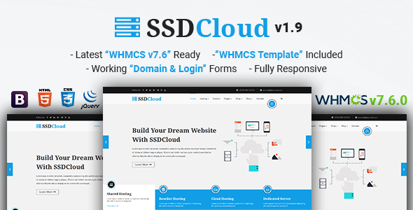 SSDCloud | Multipurpose Hosting with WHMCS and Technology Business Template