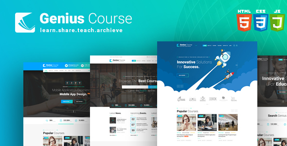 Genius Course - Learning & Course HTML Template - Business Corporate