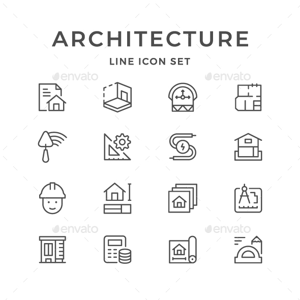 Set Line Icons of Architectural - Man-made objects Objects