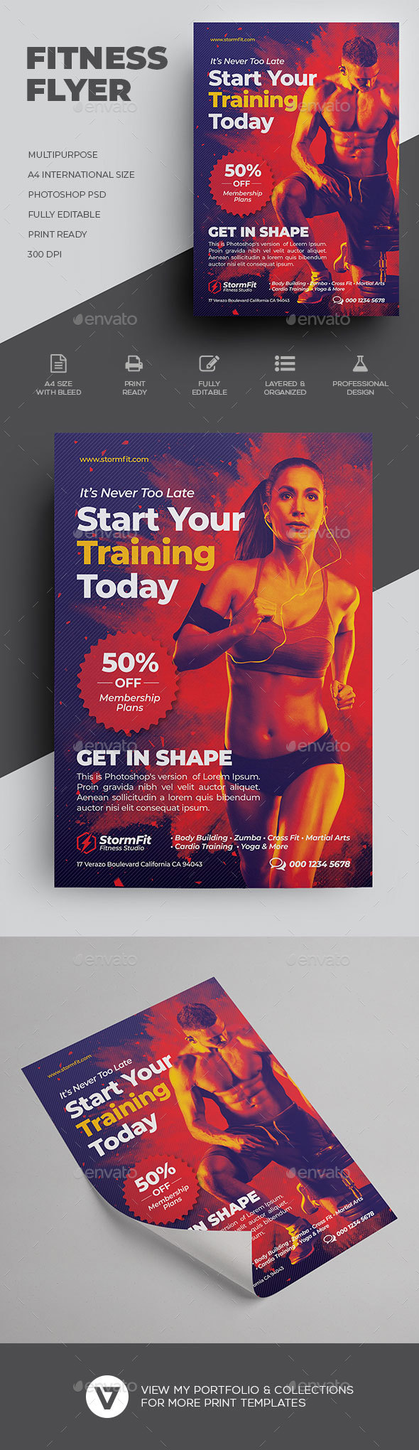 Fitness Flyer Template By Verazo Graphicriver