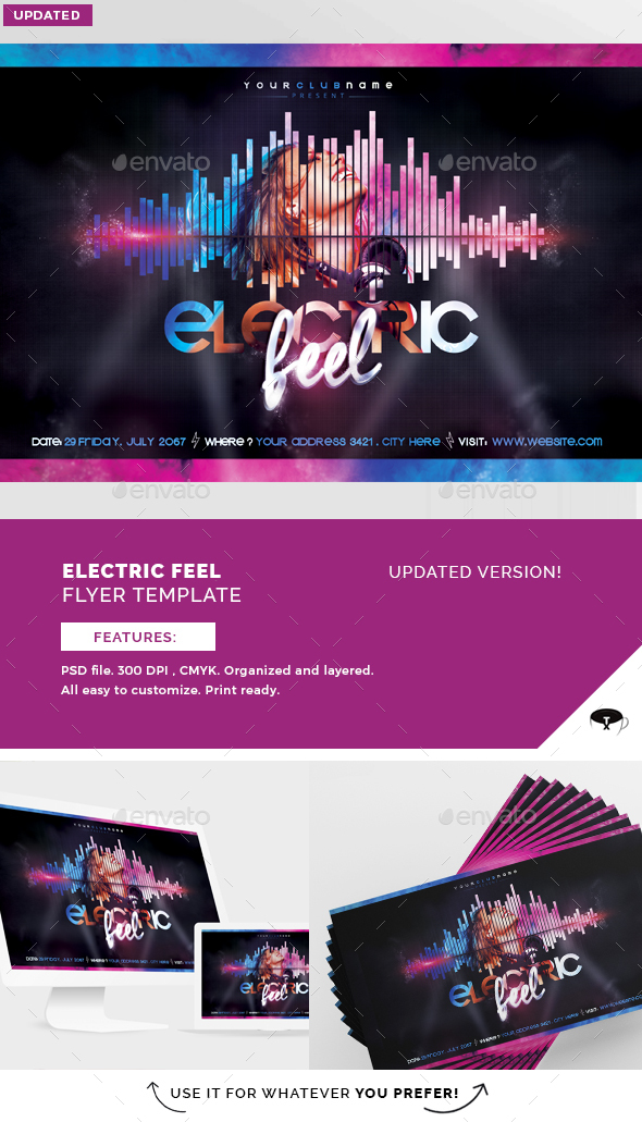 Electric Feel Flyer Template - Clubs & Parties Events
