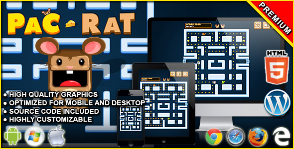 Pac-Rat - HTML5 Arcade Game            Nulled