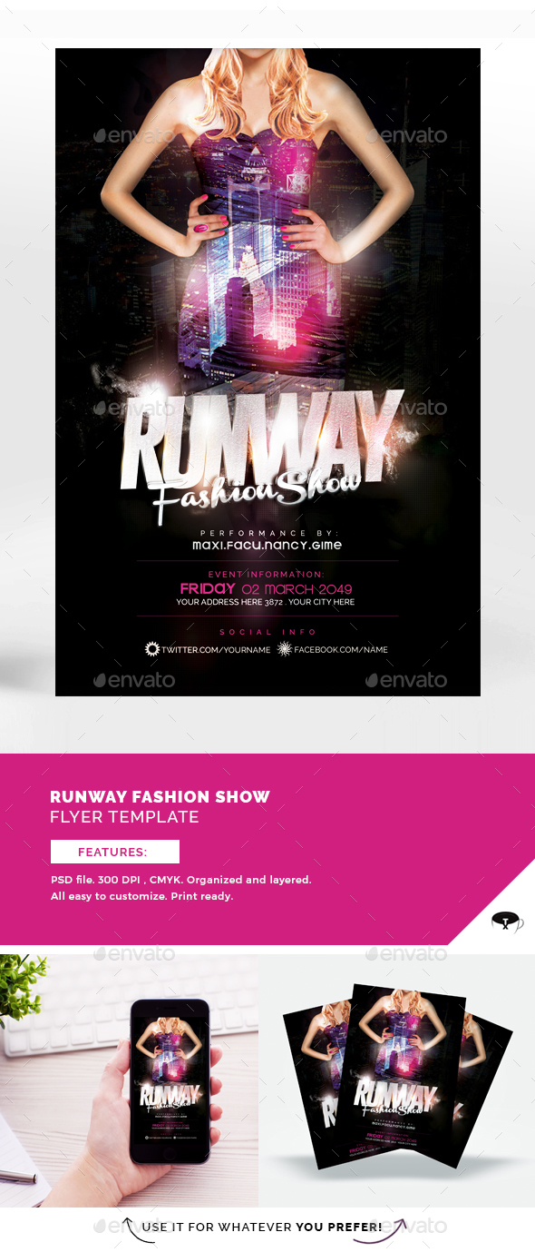 Runway Fashion Show Flyer Template - Flyers Print Templates