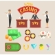 Casino Gambling Symbols Set Vector Illustrations