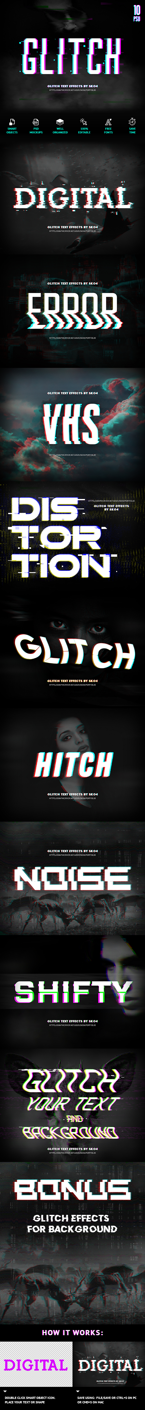 Glitch Text + Glitch FX - Text Effects Actions