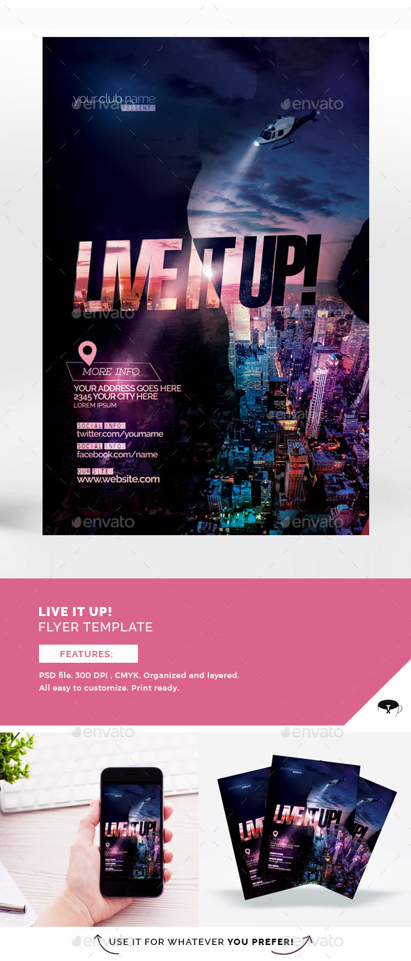 Live It Up Flyer Template - Events Flyers