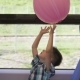 Cute Little Boy Playing with Pink Balloon in the Train, While It Moving. Child Going on Vacations - VideoHive Item for Sale
