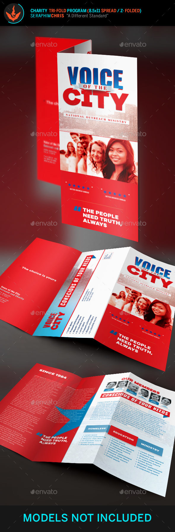 Voice of the City Charity Tri-Fold Brochure Template - Corporate Brochures
