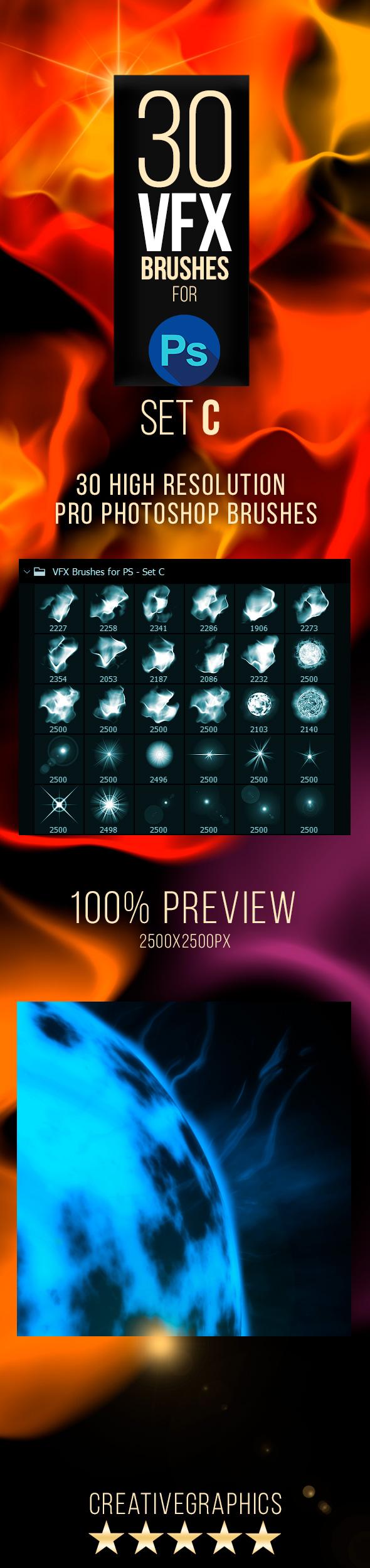30 Vfx Brushes for Photoshop - Set C - Abstract Brushes