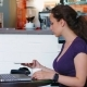 Business Woman Use a Phone for Paying a Bill at Cafe. Business Woman Drink Coffee - VideoHive Item for Sale