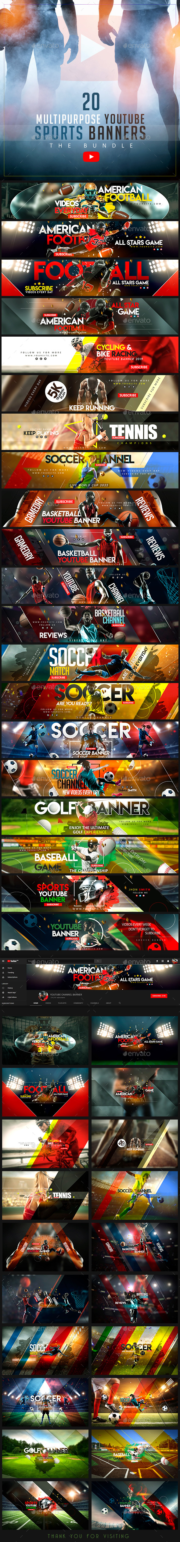 YouTube Sports Bundle - 20 Multipurpose Banners - YouTube Social Media