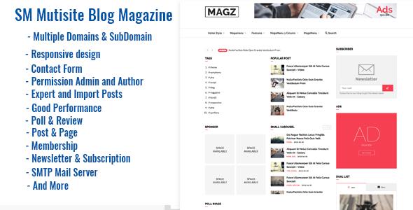 SM Multisite - Magazine News & Blog Script            Nulled