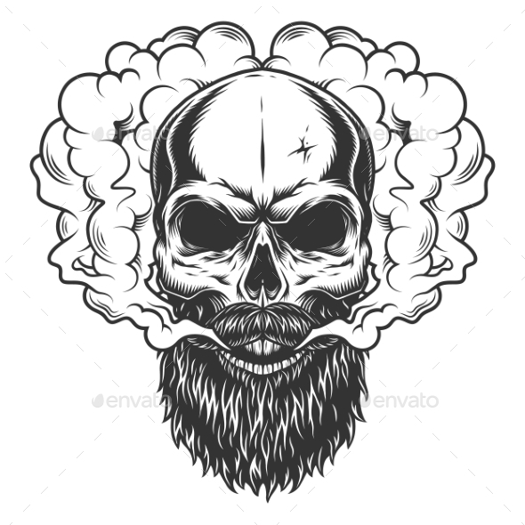 Skull with Beard and Mustache - Miscellaneous Vectors