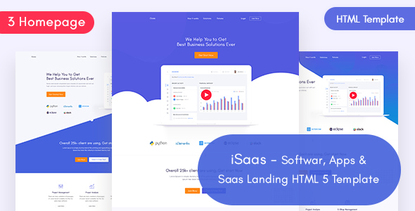 iSaas -Software, App, Saas Landing HTML Template - Software Technology