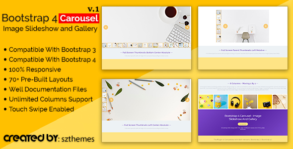 Bootstrap 4 Carousel - Image Slideshow and Gallery - CodeCanyon Item for Sale