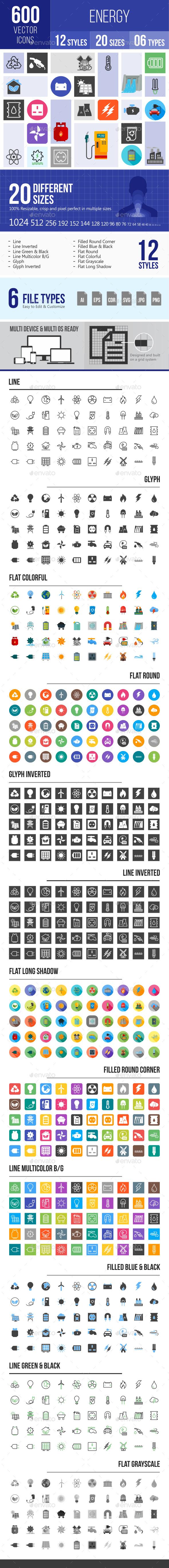600 Energy Icons - Icons