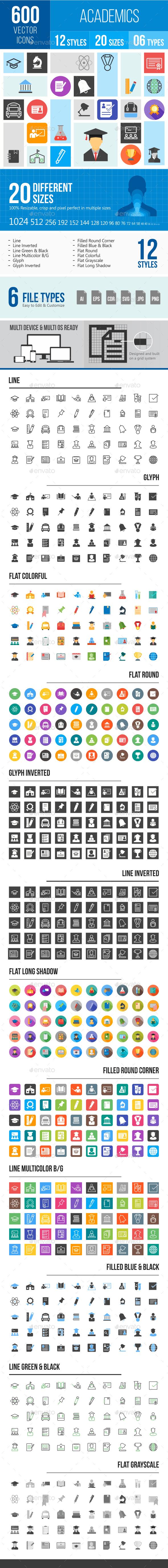 600 Academics Icons - Icons