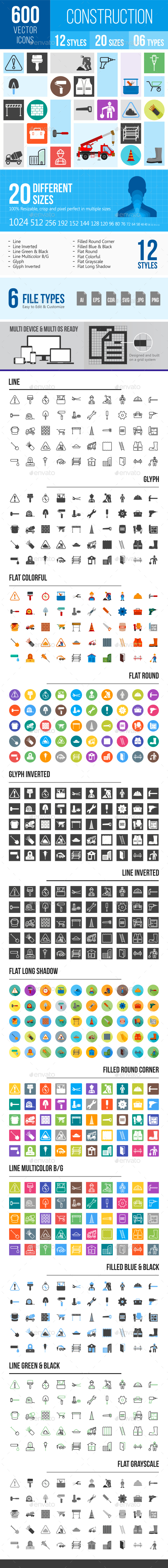 600 Construction Icons - Icons