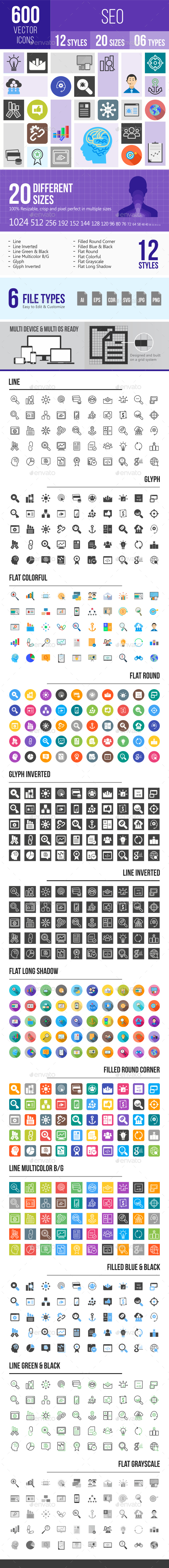 600 SEO Icons - Icons
