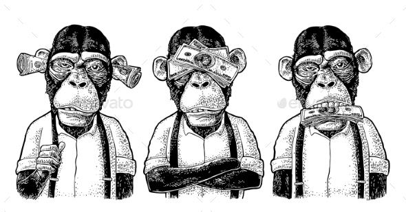Three Wise Monkeys Not See, Not Hear, Not Speak - Animals Characters