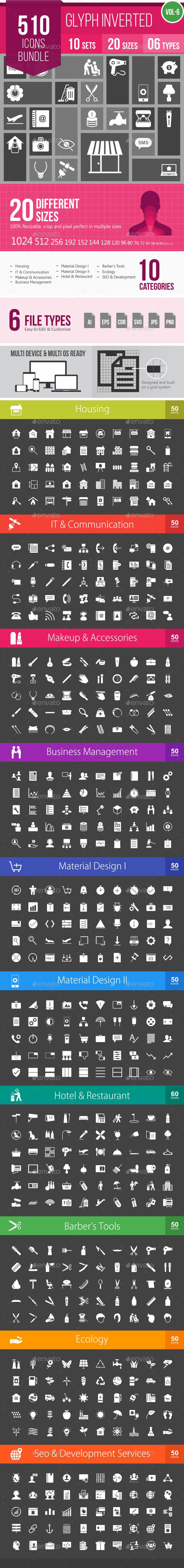 510 Vector Inverted Glyph Icons Bundle - Icons