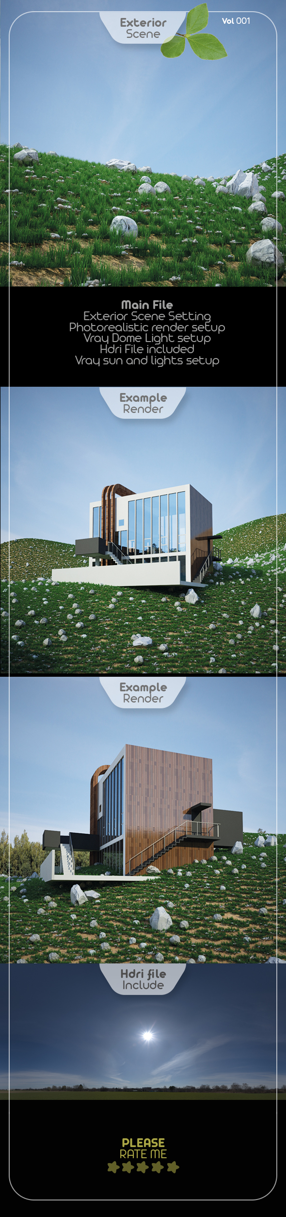 Exterior Render Scene Set 001 - 3DOcean Item for Sale