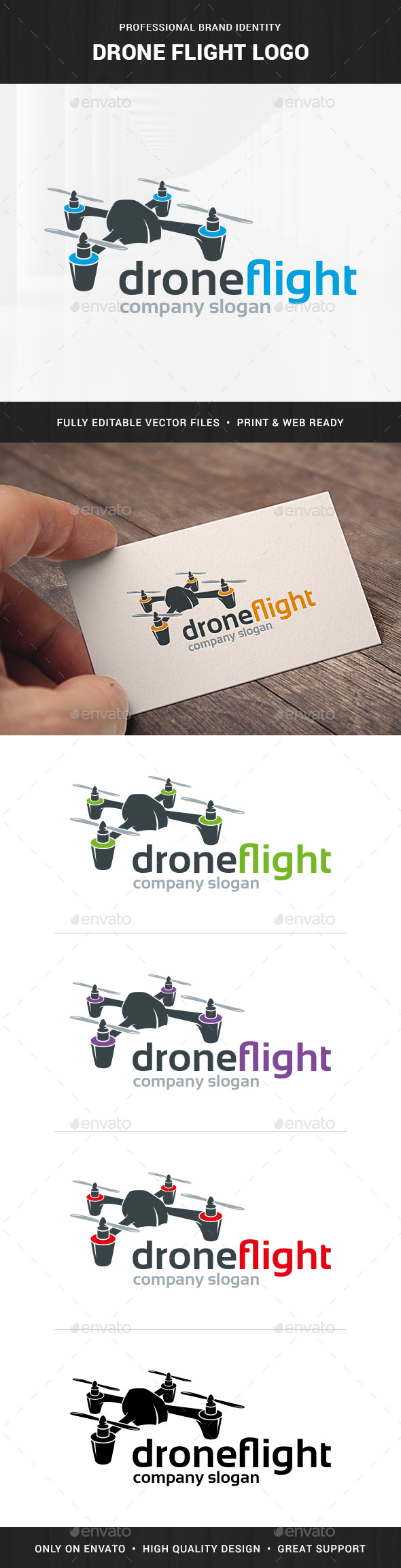 Drone Flight Logo Template - Objects Logo Templates