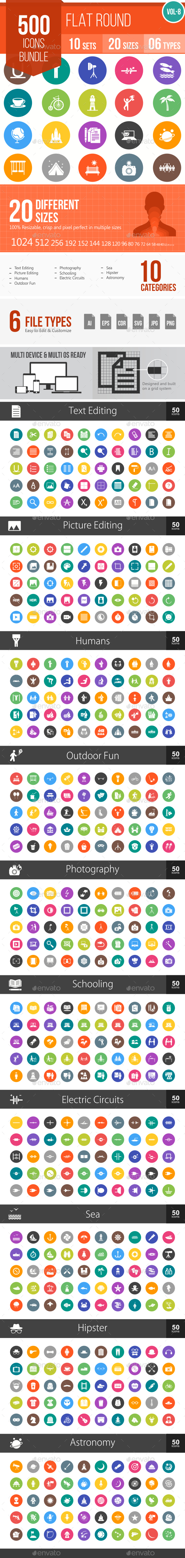 500 Vector Colorful Round Flat Icons Bundle (Vol-8) - Icons