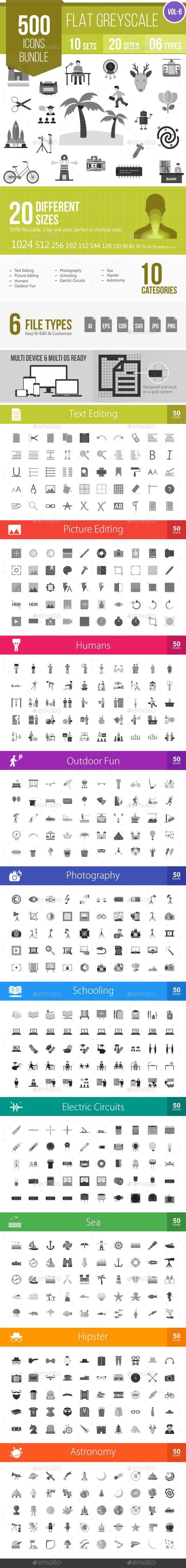 500 Vector Greyscale Flat Icons Bundle (Vol-8) - Icons