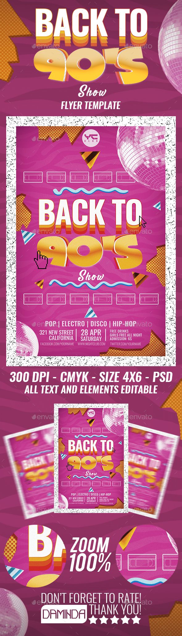 Back to the 90's show 3 Flyer Template - Clubs & Parties Events