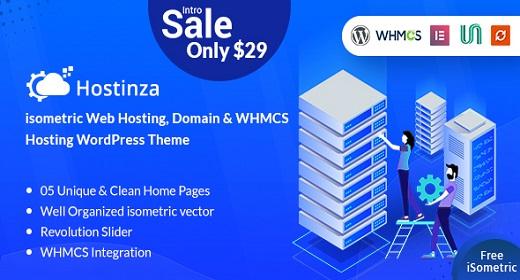 Hostinza - Isometric Domain & Web Hosting Wordpress Theme