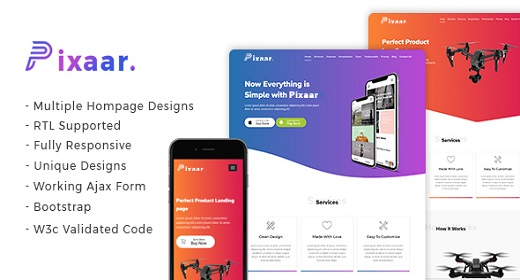 Pixaar - Creative App & Product Showcase Landing Page + RTL
