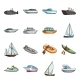 Water and Sea Transport Cartoon Icons