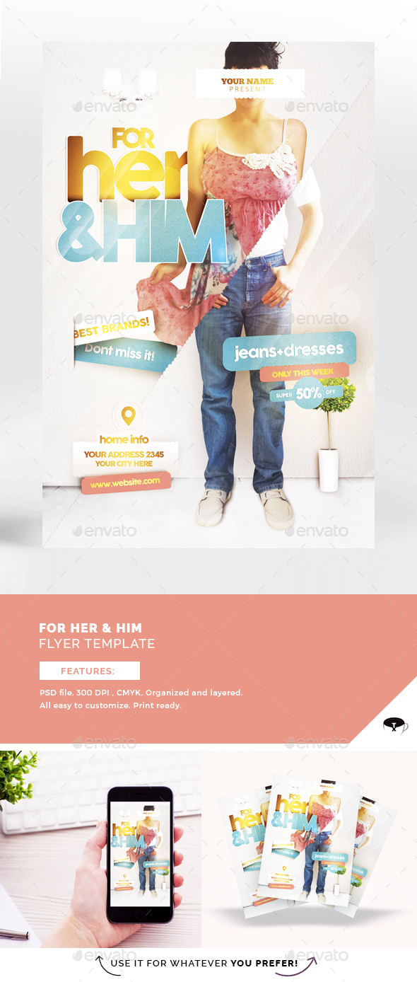 For Her & Him Flyer Template - Print Templates