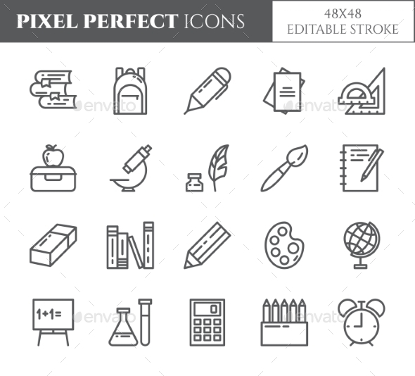 School Supplies Editable Pixel Perfect Icons Set - Objects Icons