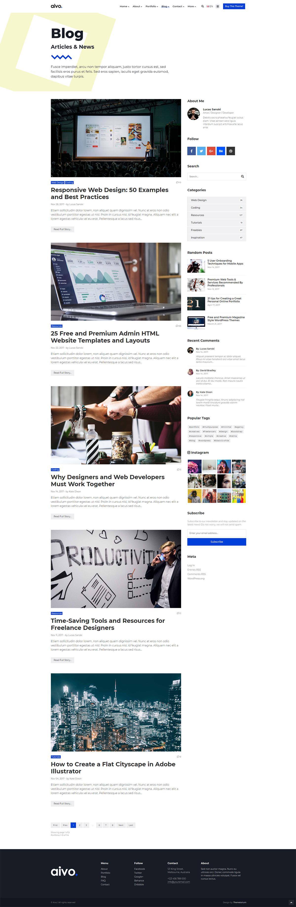 Aivo Multipurpose Portfolio Html Website Template By Themetorium