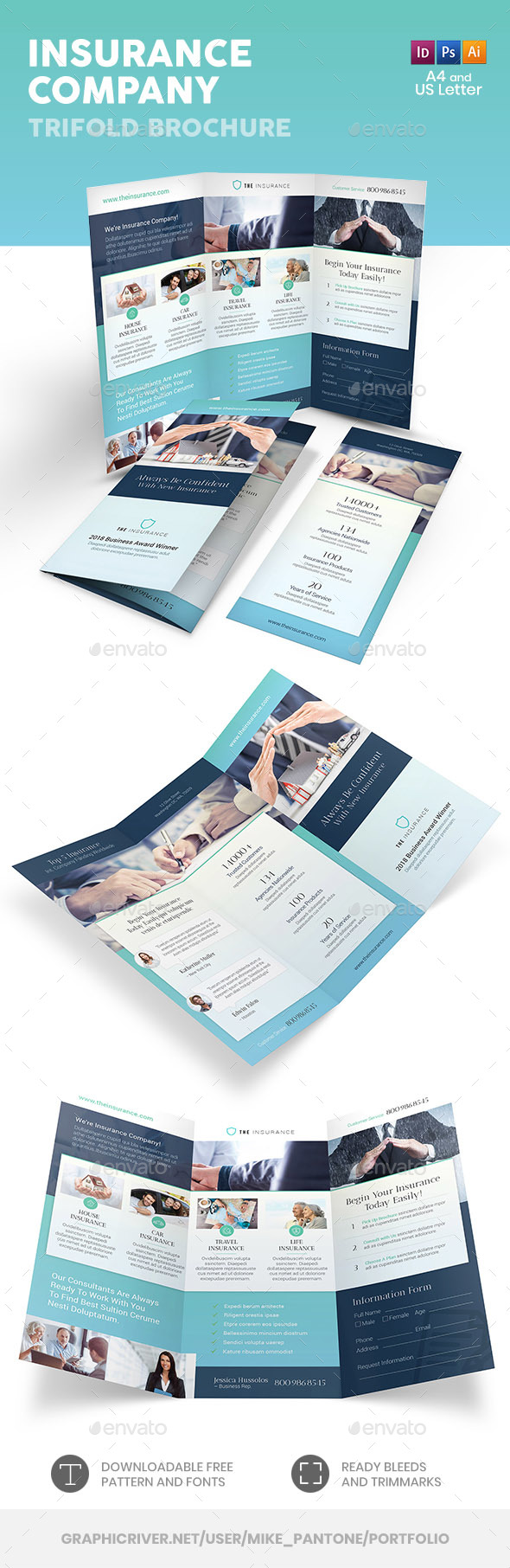 Insurance Company Trifold Brochure 2 - Informational Brochures