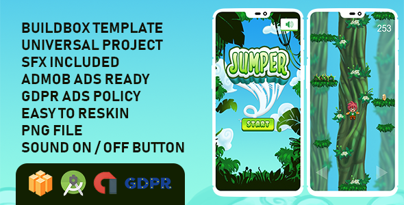 Jungle Jumper Buildbox with GDPR: Android Game            Nulled