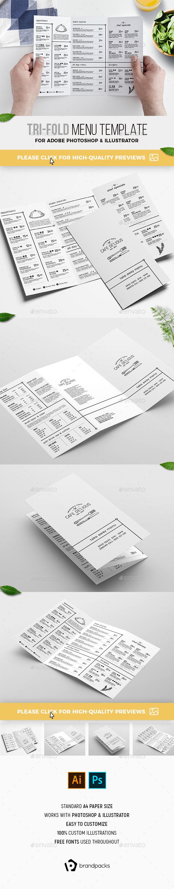 Trifold Menu Template - Food Menus Print Templates