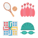 Sports and Game Color Vector Isolated Icons