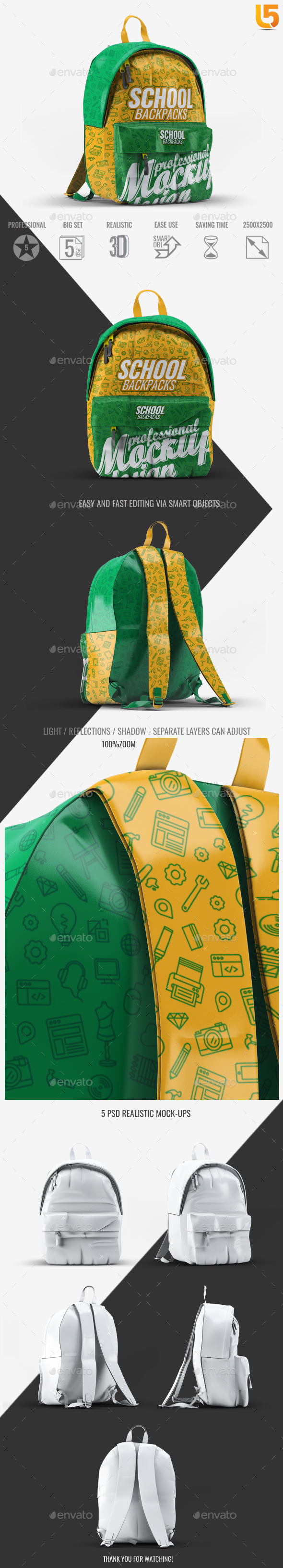 School Backpacks Mock-Up - Miscellaneous Product Mock-Ups