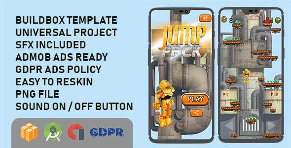 Jump Pack Buildbox with GDPR: Android Game            Nulled