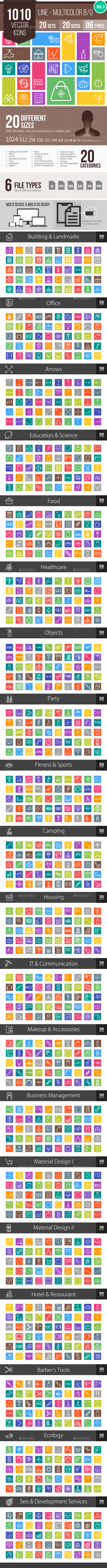 1010 Vector Multicolor B/G Line Icons - Icons