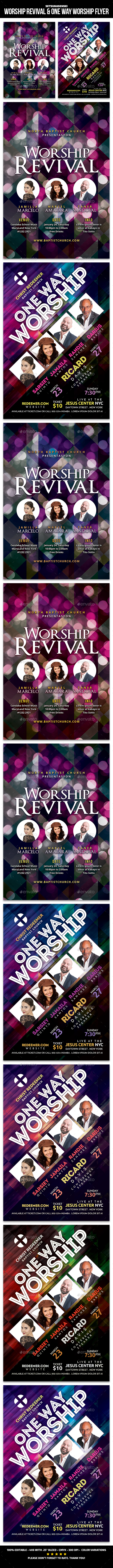 Worship Revival & One Way Worship Flyer - Church Flyers