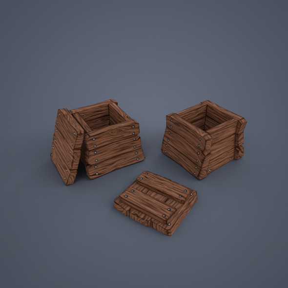 Wooden boxes (low poly) - 3DOcean Item for Sale