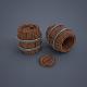 Wooden barrels (low poly) - 3DOcean Item for Sale