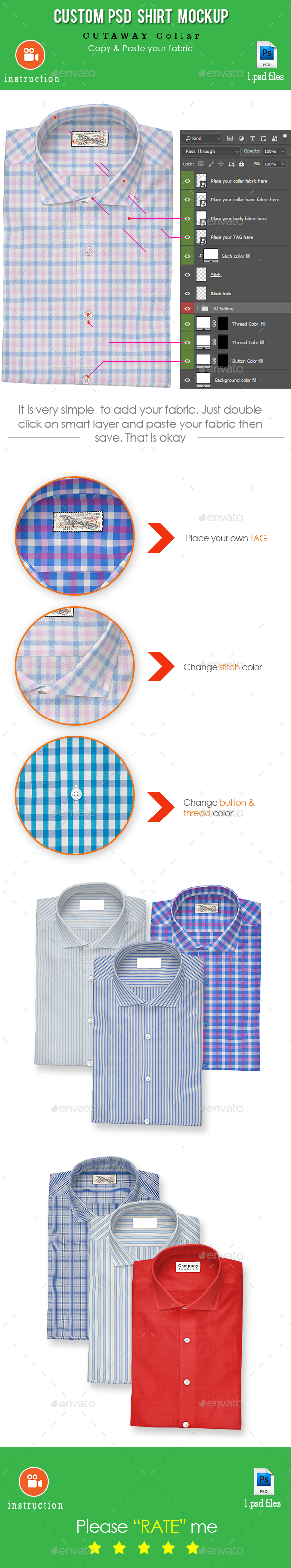 """Shirt Mockup (Cutaway Collar)"" - Apparel Product Mock-Ups"