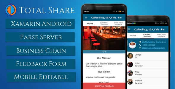Total Share, Business presentation with feedback form (Xamarin.Android with Parse Server)            Nulled